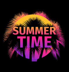 summer time poster with palm trees and gradient vector image