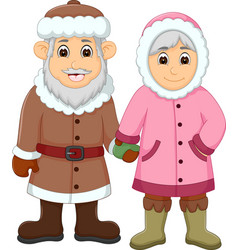 sweet couple cartoon use cold clothes vector image