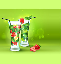 two cocktails realistic composition vector image
