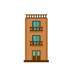 two floor house icon flat style vector image