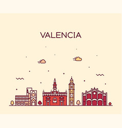 valencia skyline spain city linear style vector image