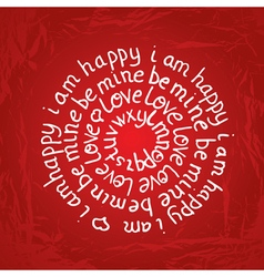 Valentines day round lettering on red background vector