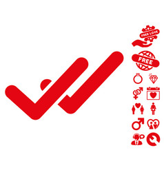 validation icon with lovely bonus vector image