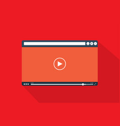 video player template in flat style vector image