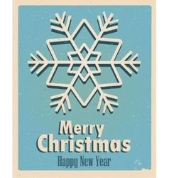 Vintage card with snowflake retro vintage merry vector
