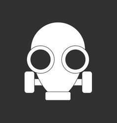 White icon on black background gas mask vector