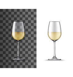 Wine glass white wine transparent isolated cup vector