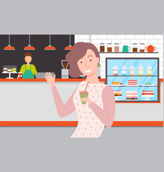 woman drinking coffee in eatery bakery shop cafe vector image