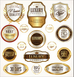 gold and silver labels with laurel wreath vector image