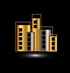 Gold and silver skyscrapers vector image vector image