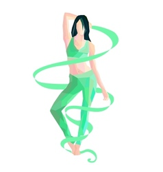 gymnast with ribbon vector image vector image