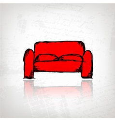 Red sofa on grunge background vector image vector image