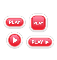 Set of Play Buttons Isolated on White vector image vector image
