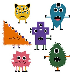 Set of Simply Cute Monsters Icon Set vector image vector image