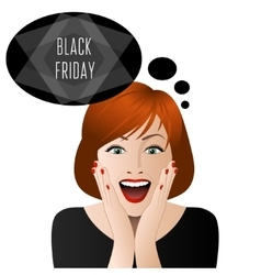 Surprised woman in black friday vector