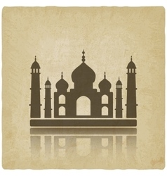 Taj Mahal on old background vector image vector image