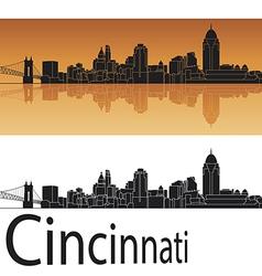 Cincinnati skyline in orange background vector image vector image