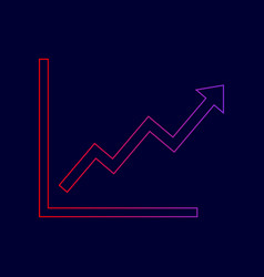 growing bars graphic sign line icon with vector image