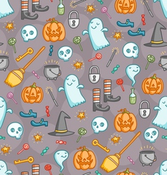 Halloween doodle pattern in color vector image vector image