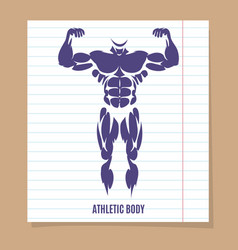male body silhouette on lined page vector image