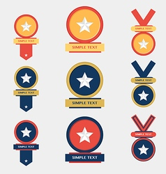 Medal flat icons set vector image