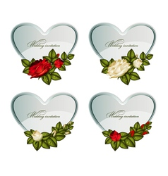 set of silver cards heart decorated by roses vector image