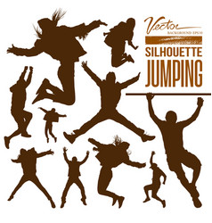 Silhouette people jumping vector image