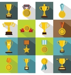 Trophy icons set flat style vector image vector image