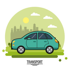 colorful poster of transport with automobile on vector image
