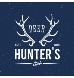 Deer Hunters Club Abstract Vintage Label or Logo vector image