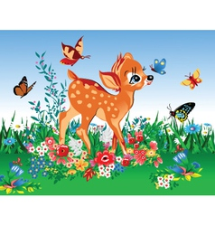Deer in summer garden vector image