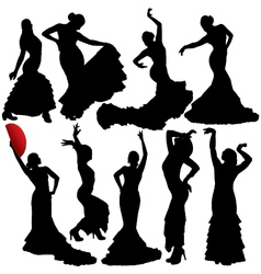 Flamenco Woman Dancer Silhouettes vector image