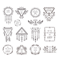 hand drawn boho style frames and decorations vector image