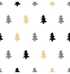hand drawn Christmas tree fir seamless pattern in vector image vector image