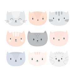 set of cute cartoon cats funny doodle animals vector image