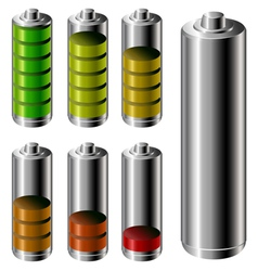 Battery charge level set vector image