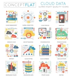 Infographics mini concept Cloud data icons for web vector image vector image