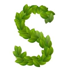 Letter S of green leaves alphabet vector image