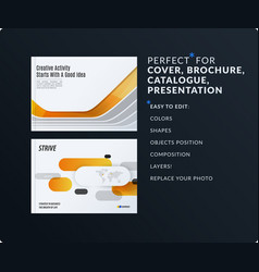 presentation abstract yellow grey set of vector image