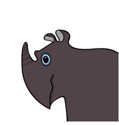 rhino cute funny cartoon head vector image