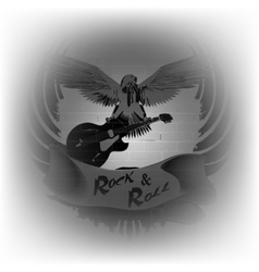 rock n roll with an eagle on a background of a vector image vector image