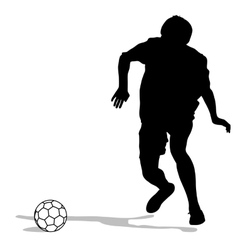 silhouettes of soccer players with the ball vector image vector image