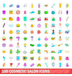 100 cosmetic salon icons set cartoon style vector image