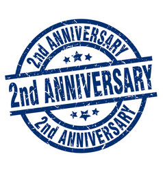 2nd anniversary blue round grunge stamp vector image