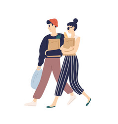 adorable modern young couple carrying bags with vector image