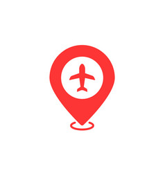 Airport geotag with red map pin vector