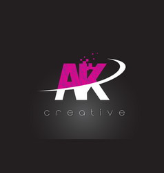 Ak a k creative letters design with white pink vector