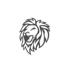 angry lion head black and white logo design vector image