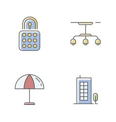 Apartment rgb color icons set vector