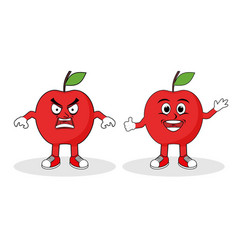 Appel fruit character set flat vector